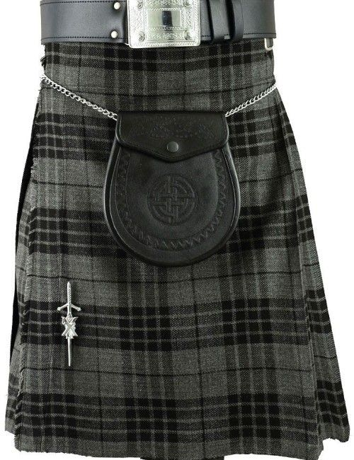 Grey Scottish Mens Kilt Tartan Kilts Traditional Highland dress MODERN PRINCE…
