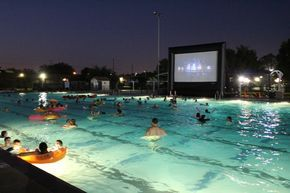 Deer park texas watch movies in a pool (near Houston)