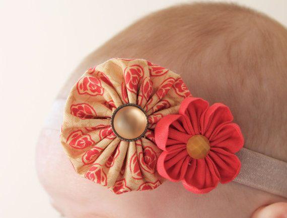 Yellow and pink rose headband.. baby headband... by ElianasCove, $12.00