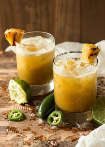 grilled pineapple and jalapeno mezcal margarita.