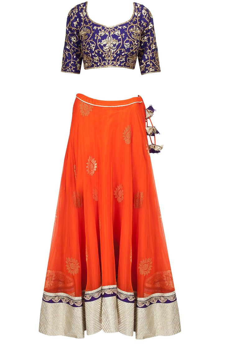 Royal blue embroidered blouse with orange banarasi net lehenga available only at Pernia's Pop-Up Shop. #amritathakur #designer #collection #lehenga #ethnic #indian #shop #buy #wear #collection #fashion #style