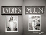pictures of bride and groom when they were younger on the bathroom at wedding
