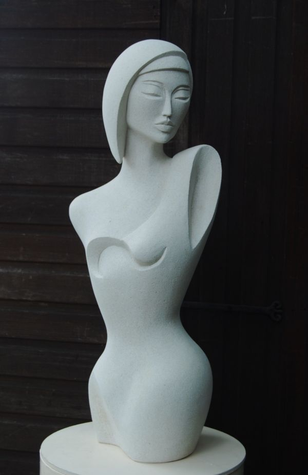 Hand made marble/ mineral stone Sculptures of females by artist Jo Ansell titled: 'Galia- (Contemporary female Torso Carved stone statue Art)'