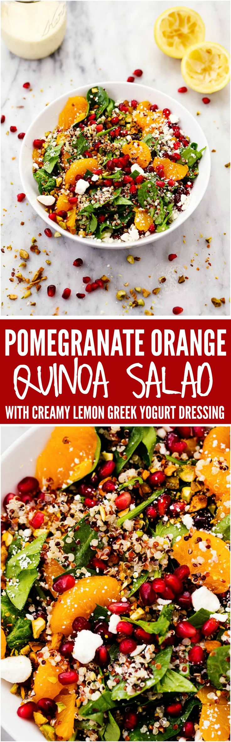A mouthwatering winter salad with quinoa, spinach, mandarine oranges, and crunchy pistachios. Topped with a creamy lemon greek yogurt dressing and feta cheese this makes one unforgettable salad!