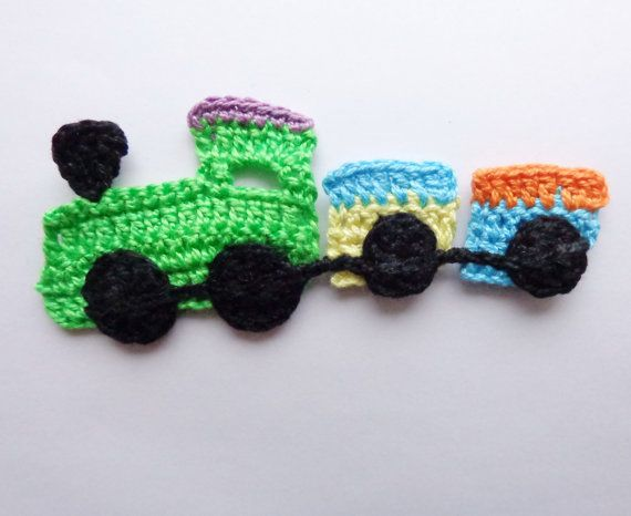Crocheted Applique Train 1pcs   From Cotton Yarn by KernelCrafts