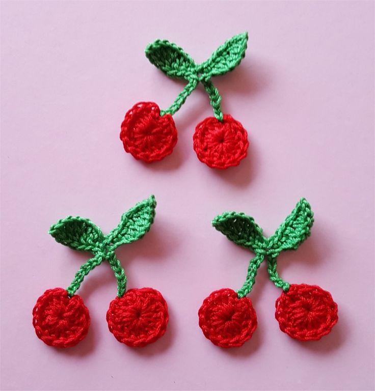 Lot de 3 appliques cerises au crochet : Autres pièces pour créations par atelier-crochet