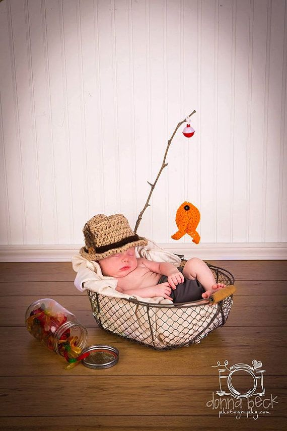 Baby Boy Fishing Hat & Fish SET Newborn 0 3m 6m by NitaMaesGarden
