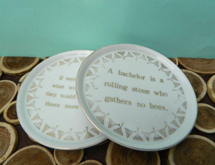 Norcrest Porcelain Drink Coasters or Wine Coasters with Gold Leaf - Dorothy Parker - Midcentury Modern Vintage Barware by 20thCKitchenAndTable on Etsy