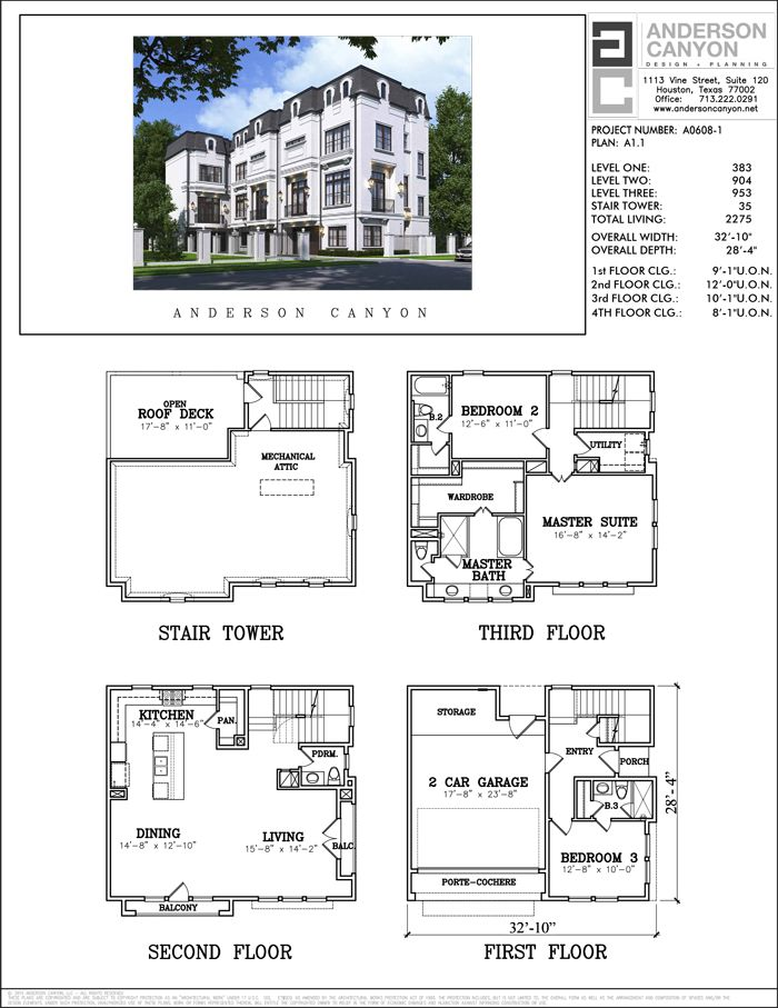 Townhome floor plans houston house plan 2017 for Three story townhouse floor plans