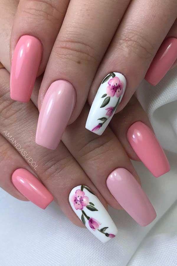 23 hellrosa Nageldesigns und Ideen zum Schminken Hübsche rosa Sargnägel …