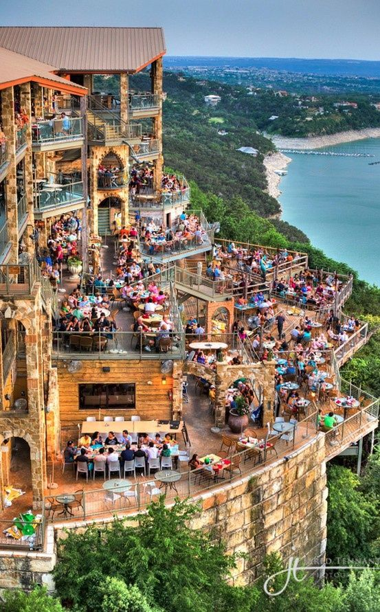 Spend an evening at The Oasis on Lake Travis in Austin, Texas  A must see for anyone visiting austin, the overlook and drinks are especially nice in the summer months... #Place i love!#I want to go to...#
