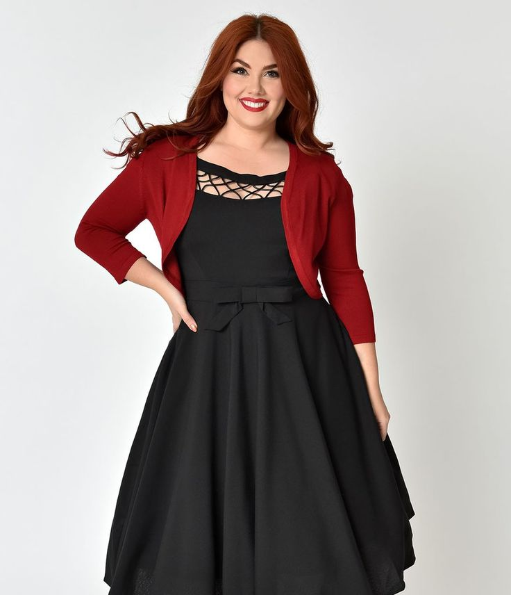 Hell Bunny Plus Size Red Three-Quarter Sleeve Maggie Bolero