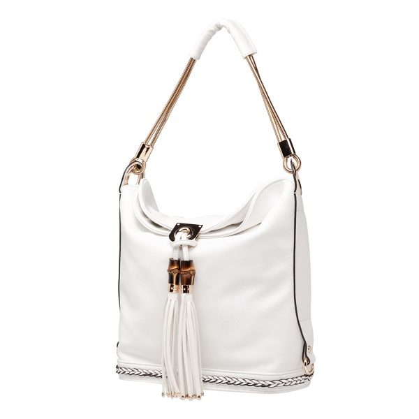 The leather accent and edgy metal of this bag will have you as posh as Victoria Beckham.
