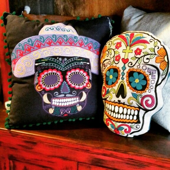 Dia de los Muertos Pillows de Barrio Antiguo in Houston Texas Available