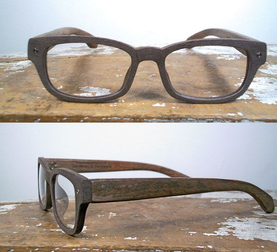 handmade rectangular wood and textured acetate by SpectatorFrames,