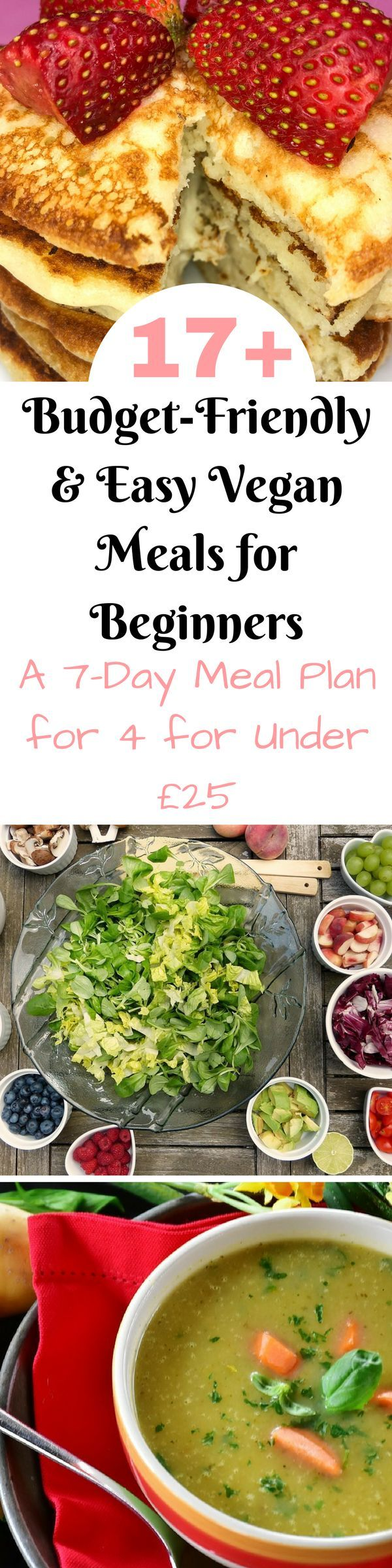 17 budget friendly and easy vegan meals for beginners. Here's a whole week's meal plan and vegan grocery list on a budget. Coming in at under £25 for the whole family. #VeganGroceryList #VeganGroceryListOnABudget #VeganForBeginners #VeganMealPlan