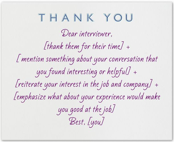 What to write in a thank you note after an interview Note - post interview thank you letters