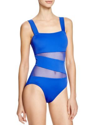 DKNY Mesh Effect Splice Maillot One Piece Swimsuit   Bloomingdale's