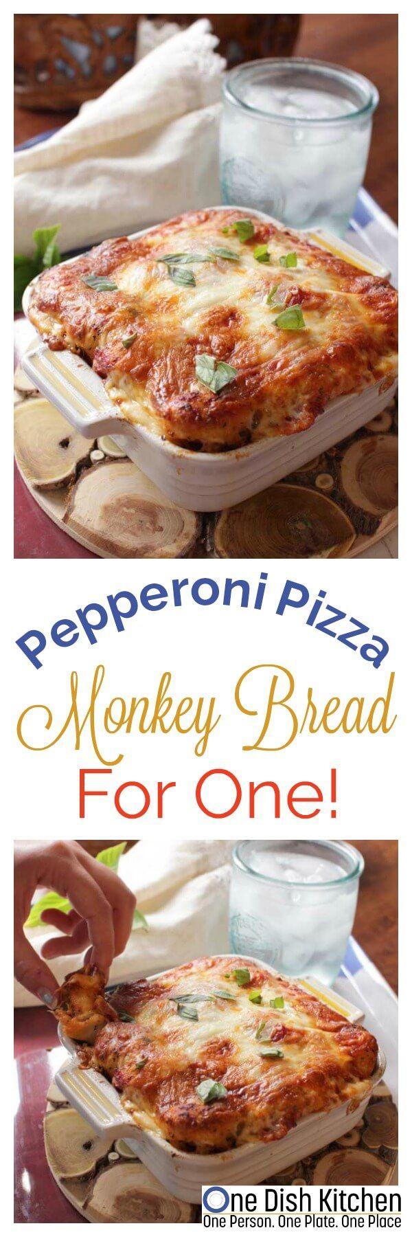 Pepperoni Pizza Monkey Bread For One! Pull apart bread baked in a small baking dish. Made with biscuit dough, cheese and pepperoni. A quick and easy recipe for one! | onedishkitchen.com | ONE DISH KITCHEN
