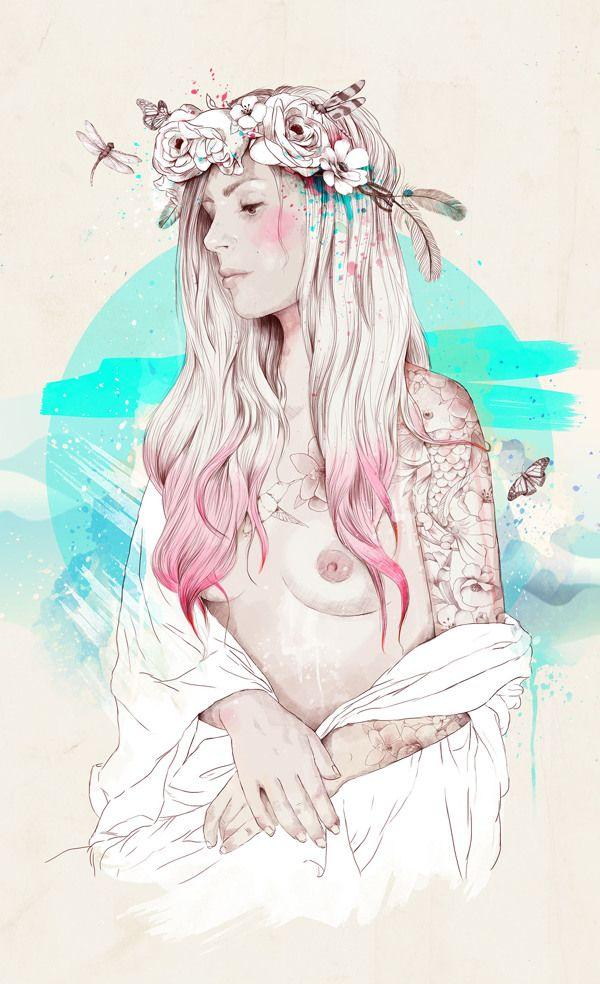 Gioconda by Ariana Perez, via Behance, woman illustration, flowers, tattoo, tattooed woman