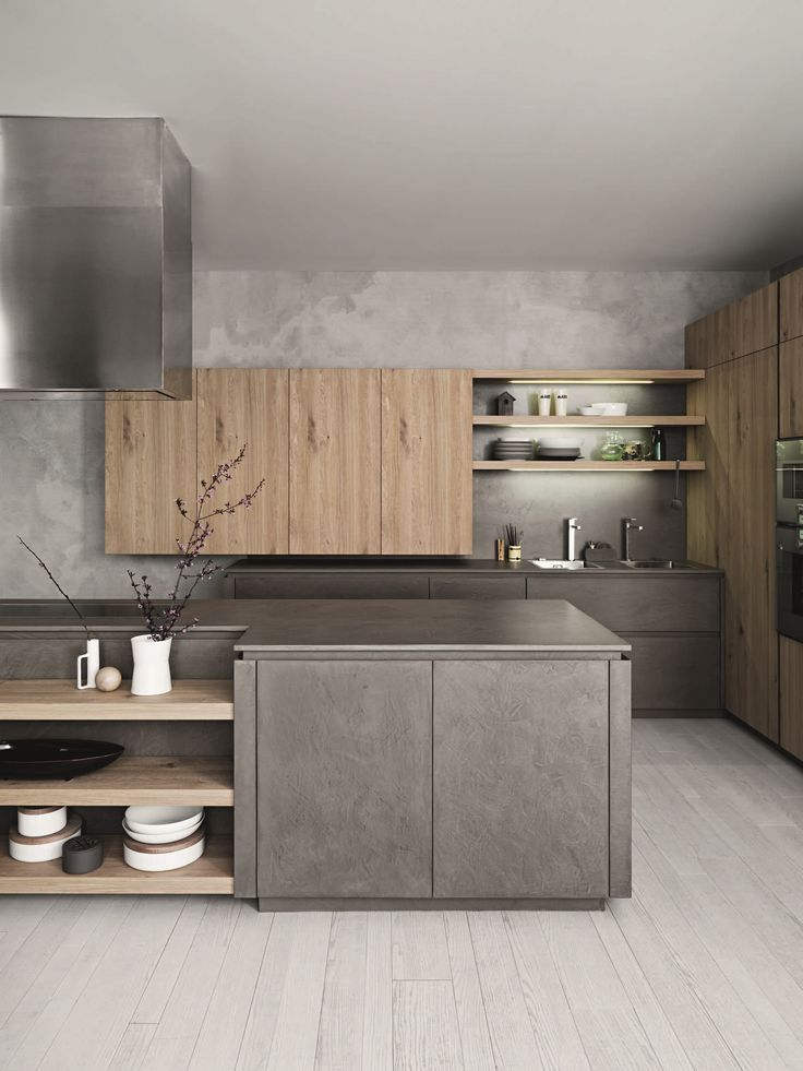 Cool Modern Kitchens stone covered walls is another way to go for an industrial kitchen Fitted Kitchen With Island Without Handles Cloe Composition 2 Cesarkitchen