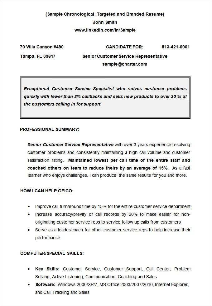Non Chronological Chronological Resume Template