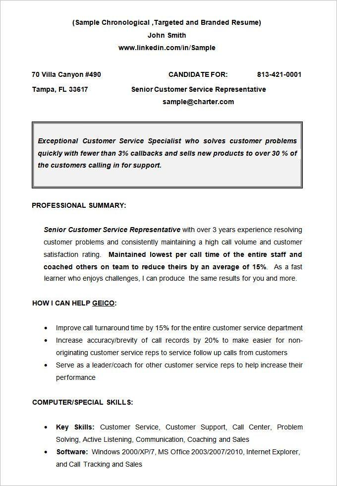 Non Chronological Chronological resume template