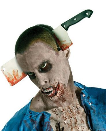 The Walking Dead Costume Accessory Cleaver In Head   Halloween Costume   Zombie Costume   http://www.zombieinfestedworld.com/zombie-costumes-online.html