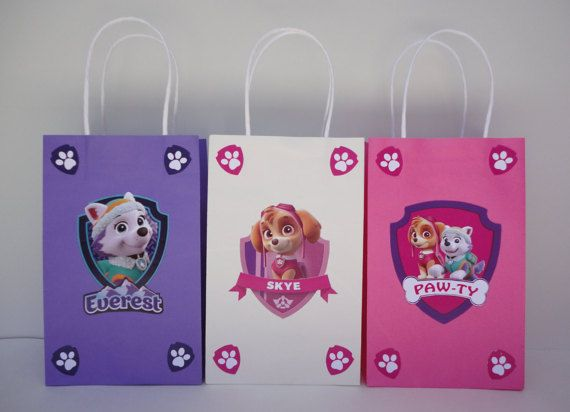 Make your own Girls Paw Patrol Favor Bags with these easy templates!! They are very easy to assemble. All you have to do is: Download, Print, Cut & Glue! You may print as many as you need.  This File includes: - 1 Skye Favor Bag Template - 1 Everest Favor Bag Template - 1 Paw-Ty Shield Template - Instructions Sheet (Bag is not included) +++++++++++++++++++++++++++++++++++++++++++  Also available @ my Shop: Single Paw Patrol Girls Shield bag design…
