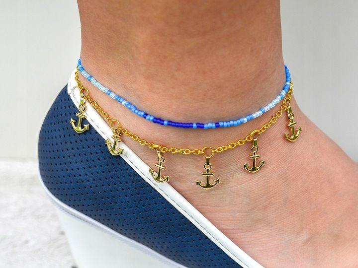 Morska Bransoletka Na Noge Stope Zlota Boho 111 7453406951 Oficjalne Archiwum Allegro Necklace Beaded Necklace Beaded