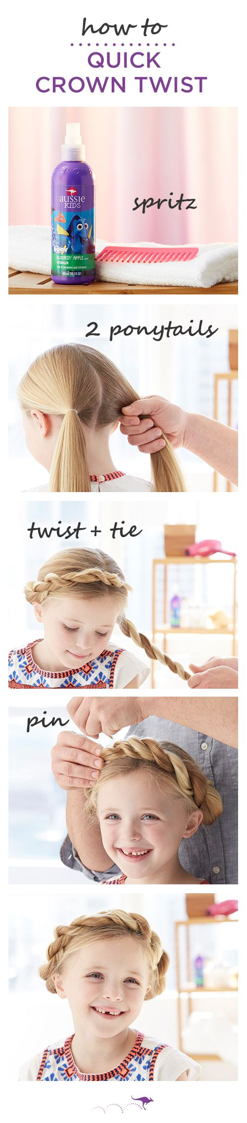 How To: Quick Crown Twist | Give classic pigtails a modern twist and get out the door just as quick | 1. Part hair down the middle and tie into two low ponytails. Pro Tip: For no knots (ouch!), use Aussie Bloomin' Apple Detangler before you brush • 2. Separate the pony into two even strands, then twist and wrap the strands around each other • 3. Use a bobby pin to secure the twisted pony in place near the top of the crown. Repeat on the other pony and you're ready to go.