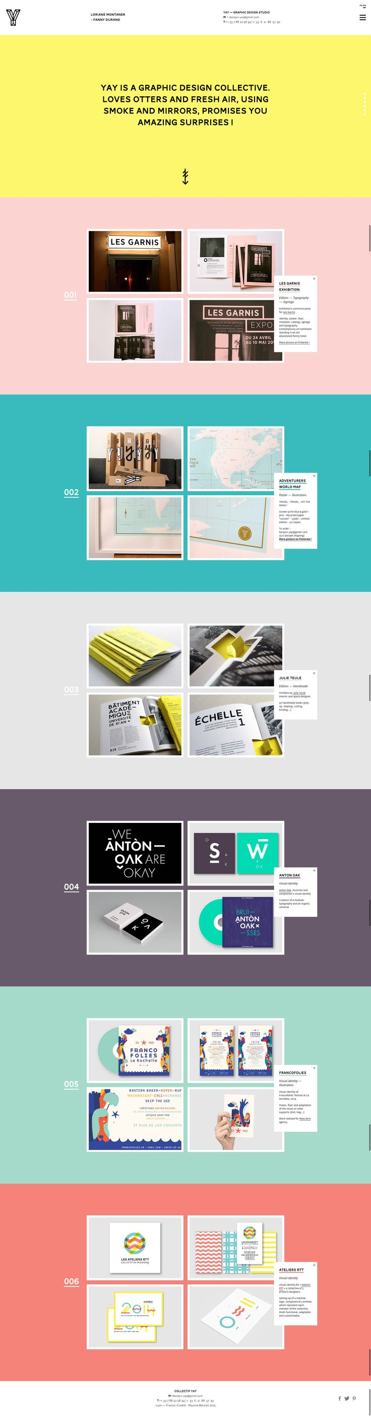 "YAY graphic design studio / 滿喜歡他們的設計風格的,像是向量、pattern, typograpgy等等~網站的互動效果恰到好處,只是作品好像有點少?LIKE:會一直變換的左上角""Y"" / 色彩搭配很活潑鮮明!DISLIKE:上方白色塊資訊部分有點太大,手機版網頁有點擠,好像會跑版,介紹文字擋到圖XX不見了。"