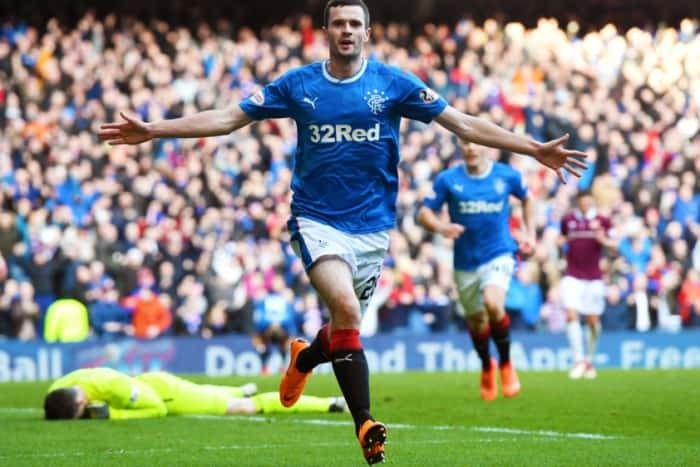 Jamie Murphy celebrates scoring against Hearts.
