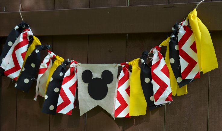 Mickey Mouse Birthday Party Decoration Banner Fabric  Highchair Bunting Red Yellow Black Classic Mickey Mouse Clubhouse Birthday Party Decor by LoveSews on Etsy https://www.etsy.com/listing/243854078/mickey-mouse-birthday-party-decoration