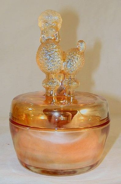 Vintage Orange Iridescent Glass Powder Box or Jar Poodle Figure on Lid