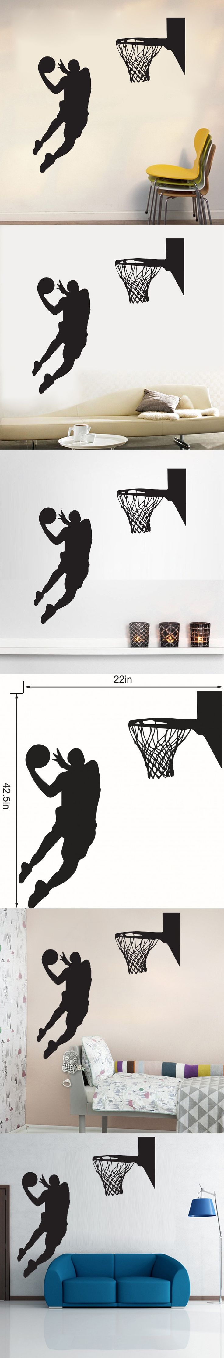 19 best gilles sticker basket images on pinterest wall decal cool basketball sport theme wall sticker for boys living room home decor waterproof pvc wall stickers for kids rooms