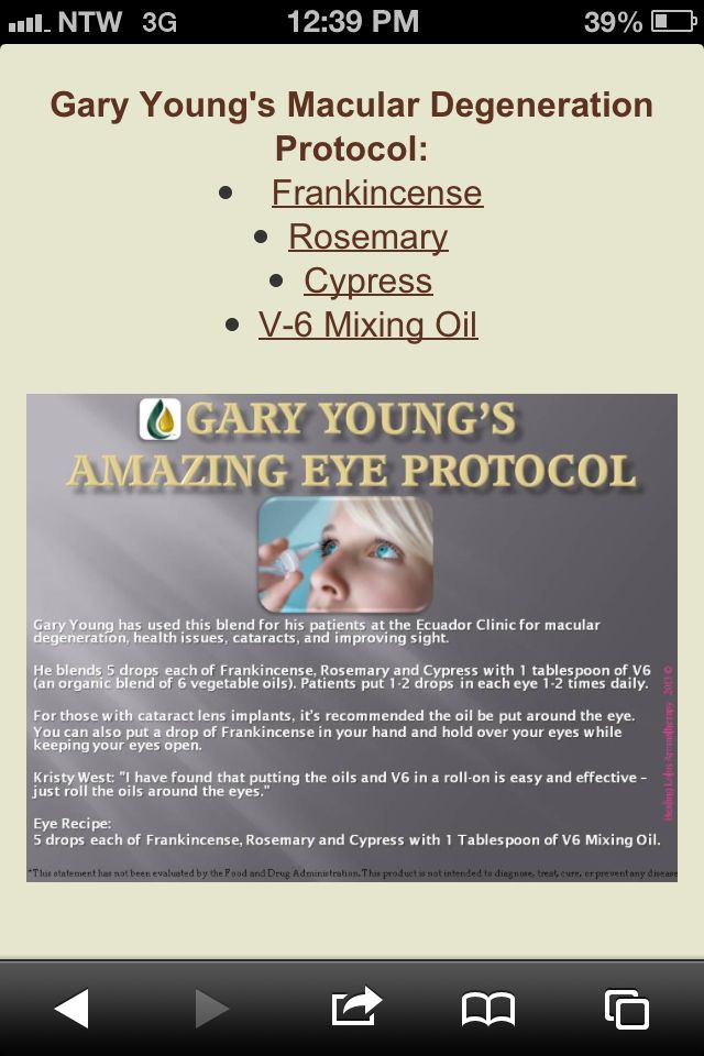 Dr Gary Young -Young Living Macular Degeneration Protocol www.melindahelwick.vibrantscents.com