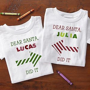 "These would look so cute if you had your kids wearing them for the family Christmas Card Photo! They're Personalized Christmas Clothes for baby and kids that say ""Dear Santa _______ did it!"" and you can personalize them with each of your kids names! They also come in baby bibs and toddler sweatshirts ... too cute! They start as low as $12.95 at PersonalizationMall! #Christmas #Santa"