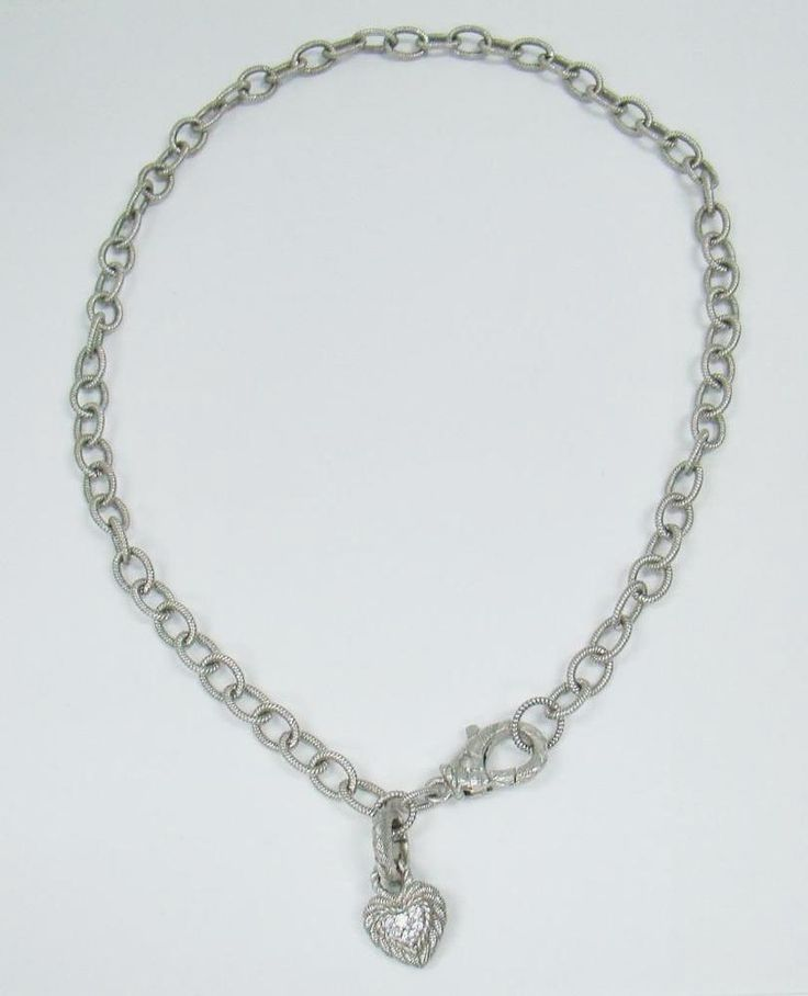 "925 STERLING SILVER JUDITH RIPKA 18""  NECKLACE DIAMONIQUE REVERSIBLE HEART CHARM  #JudithRipka   #Chain"
