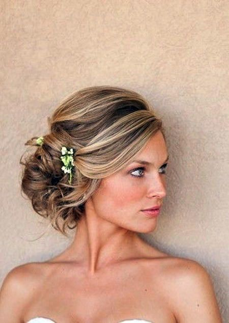 Cute Wedding Updo with Flowers on Side