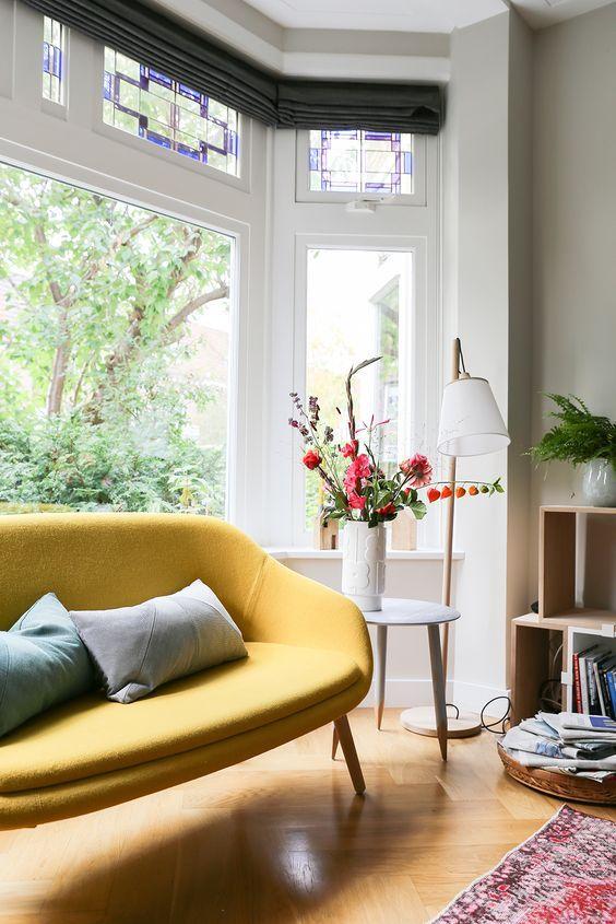 Round yellow sofa.
