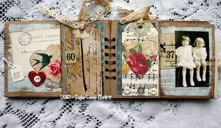 Vintage Treasures Paper Bag Album Supplies: Standard Size Lunch Bags Distress Ink Various Pattern Paper Ribbon Ephemera Buttons Old Bingo Card Numbers Double Sided Tape Heart Glitter Stickers Small Jewelry Tags Filigree Rubber Stamp E6000 Glue Graphics Fairy Postcard Hearts #11 French Floral Tags