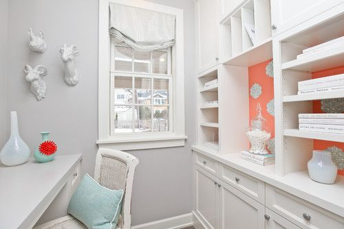 I spy Thibaut's Ivana wallpaper in Coral & Turquoise from the Shangri-La Collection!  Great accent for plain white bookcase!: Office Ideas, Contemporary Homes, Wallpaper, Office Design, Contemporary Home Offices, Refined Llc