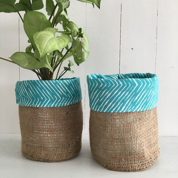 Dashed Aqua Hessian Pot Bag By Regrace On Etsy Planter Bags Pinterest And Potted Plants