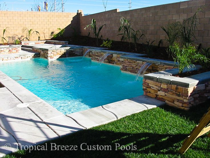 Square Pools With Water Features Geometrical Pool With Stacked Stone Bond Beam Sheer Descents