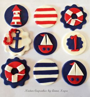 Nautical cupcakes toppers - by nectarcupcakes @ CakesDecor.com - cake decorating website