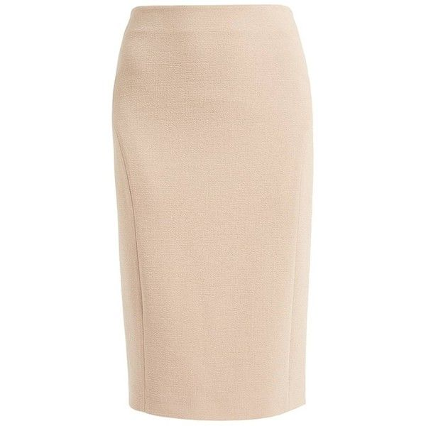 WtR  - Sky Wool Pencil Skirt Latte ($430) ❤ liked on Polyvore featuring skirts, stretch pencil skirt, lined skirt, wtr, woolen skirt and beige pencil skirts