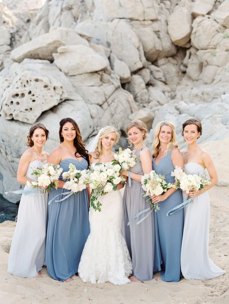 Superb Bridesmaids stuck to the ocean wedding us color scheme with blue or gray dress in the style of their choice