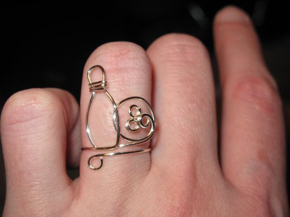 Wire Wrapped Bowling Ball and Pin Ring MADE to ORDER by 1ofAkinds, $9.00