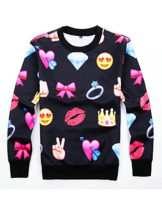 Emoji Clothing Print Bowknot Black Emoji Joggers Sweats Hoodies Shirt